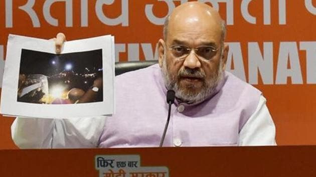 BJP chief Amit Shah on Wednesday accused the Trinamool Congress of orchestrating violence during his roadshow in Kolkata.(Raj K Raj/HT photo)