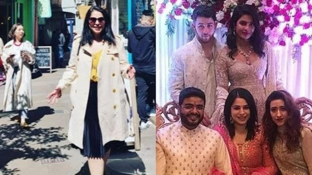 Ishita Kumar in London(left) and during her roka ceremony with Priyanka Chopra's brother Siddharth Chopra.(Instagram)