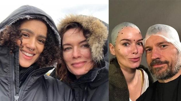 Lena Headey with Nathalie Emmanuel (left) and with Nikolaj Coster-Waldau on sets of Game of Thrones.(Instagram)