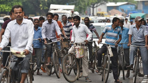 """""""Every day, at least 20,000 workers pedal to the industrial areas of the city,"""" said Ashok Kohli, president of the Chamber of Industries-Udyog Vihar.(HT Photo)"""