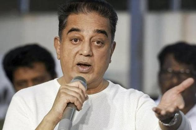 Makkal Needhi Maiam president Kamal Haasan addresses a press conference after announcing the party's Puducherry unit, in Chennai, in January 2019.(PTI FILE)