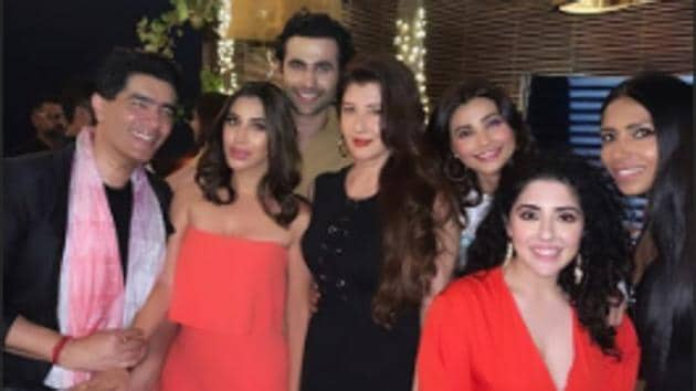 Freddy Daruwala celebrated his birthday with Manish Malhotra, Sophie Choudry, Sangeeta Bijlani and his wife Crystal Variava (in red dress, extreme right) among others.(Instagram)