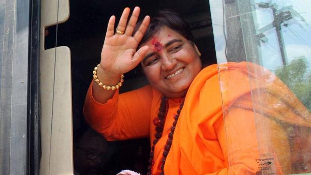 Sadhvi Pragya Singh Thakur, BJP candidate from Bhopal Lok Sabha constituency.(ANI photo)