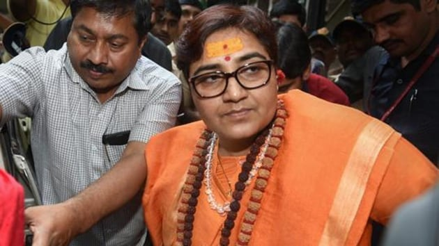 """Singh, the BJP candidate from Bhopal, while speaking to the media after a roadshow in Agar-Malwa near Bhopal on Thursday, said, """"Nathuram Godse was a 'deshbhakt', is a deshbhakt and will remain a deshbhakt.(HT photo)"""