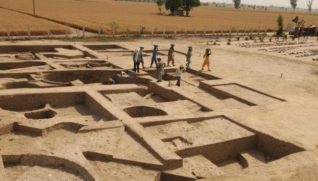 The origins of the people of Kunal village in Haryana's Fatehabad are being tracked by going back in time through geographical strata. Through the process of digging, different layers are being detected for the presence of cultural material so that a better understanding of the communities of Kunal can be ascertained.(Parveen Kumar / HT Phgto)