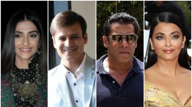 From L: Actors Sonam Kapoor, Vivek Oberoi, Salman Khan and Aishwarya Rai Bachchan.