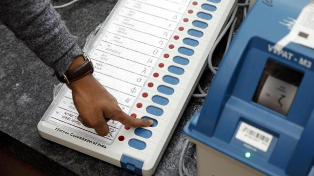Officials said the EVMs used for voting in Chandauli were already sealed in the strong room at the Navin Mandi Sthal in presence of the leaders of the all the parties on Sunday night.(HT PHOTO)