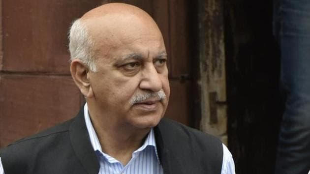 Former Union minister M J Akbar's cross-examination continued on Monday in the criminal defamation suit that he filed against journalist Priya Ramani.(Vipin Kumar/HT PHOTO)