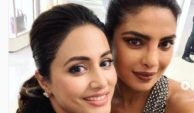 Priyanka Chopra and Hina Khan posed together at a Chopard party at Cannes.