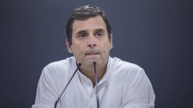 Rahul Gandhi, Congress chief, pauses during a news conference at the party's headquarters in New Delhi, India.(Bloomberg photo)