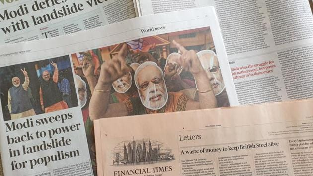 The Financial Times used a photo of PM Modi and BJP president Amit Shah on the front page with the words 'Winning hand: Modi landslide clears way for BJP's New India reform drive'.(HT PHOTO)