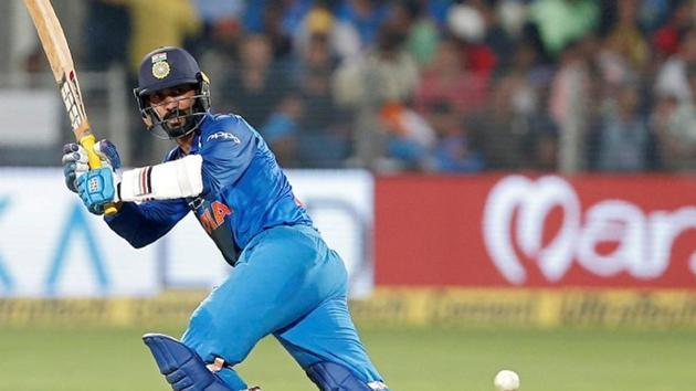 India's Dinesh Karthik plays a shot.(REUTERS)