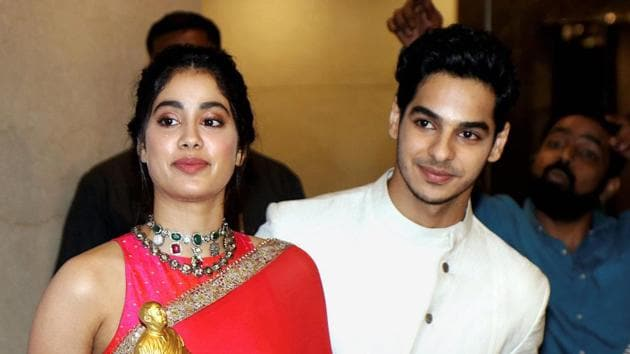 Bollywood actors Janhvi Kapoor and Ishaan Khatter attend the Dadasaheb Phalke Excellence Awards 2019.(PTI)