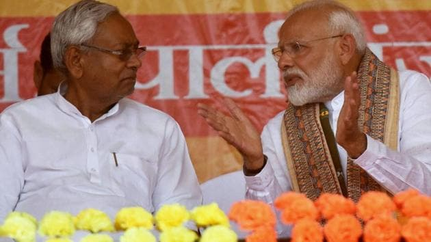 Prime Minister Narendra Modi with Bihar chief minister Nitish Kumar(ANI file photo)