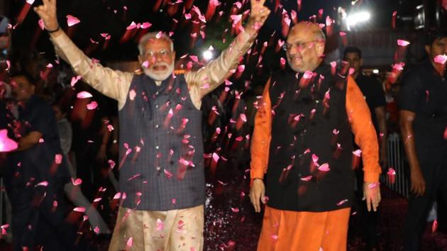 Prime minister Narendra Modi along with BJP chief Amit Shah(ANI photo)
