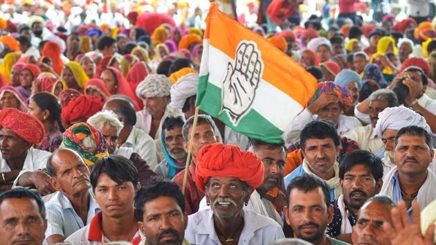An Indian National Congress party rally, Bandanwara, Rajasthan, April 25, 2019(AFP)