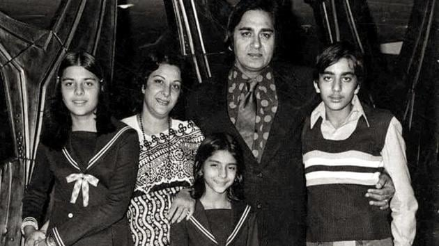 Sanjay Dutt with his family--parents Sunil and Nargis Dutt, sisters Priya and Namrata.