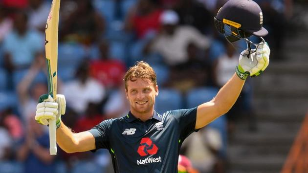 Jos Buttler of England celebrates his century during the 4th ODI between West Indies and England at Grenada National Cricket Stadium, Saint George's, Grenada, on February 27, 2019.(AFP)