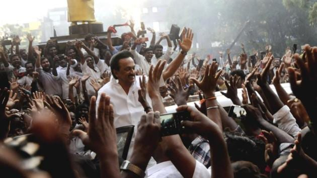 DMK president M.K. Stalin waves to his supporters after his party's victorious performance in Lok Sabha elections 2019 results in Chennai on Thursday.((ANI/ File photo))