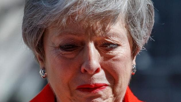Britain's Prime Minister Theresa May reacts as she announces her resignation outside 10 Downing street in central London on May 24, 2019.(AFP)