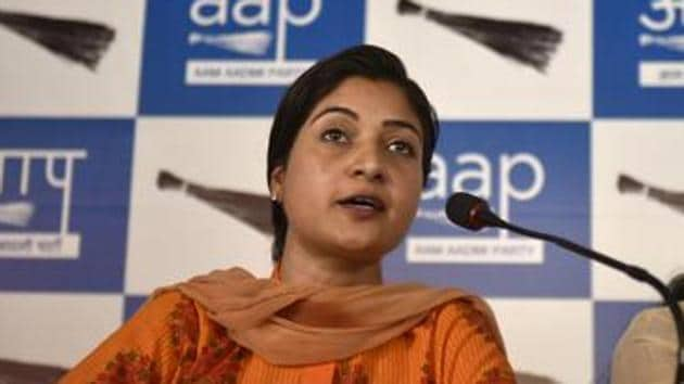 Alka Lamba won the Chandni Chowk assembly seat for the first time in 2013. Before joining Kejriwal, Lamba was part of the Congress women wing.(HT File Photo)