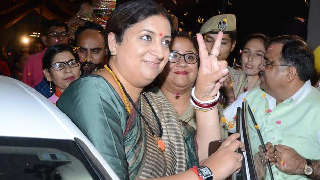 One of the biggest victories in Uttar Pradesh was of BJP's Smriti Irani over Congress president Rahul Gandhi in the Gandhi family bastion of Amethi.(AFP File)