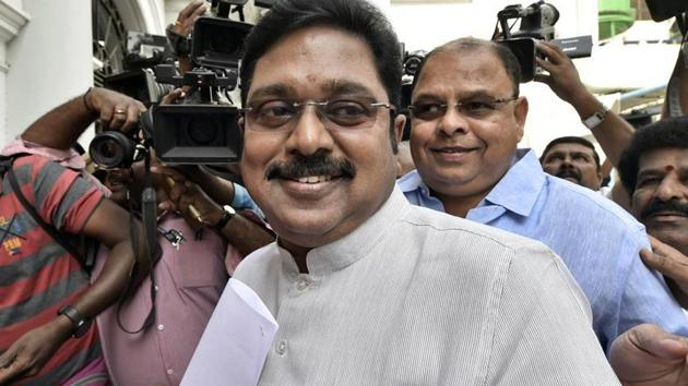 AMMK leader TTV Dhinakaran on Sunday said that he will file a complaint before the Election Commission regarding non-registration of votes in the polling booths(PTI File Photo)