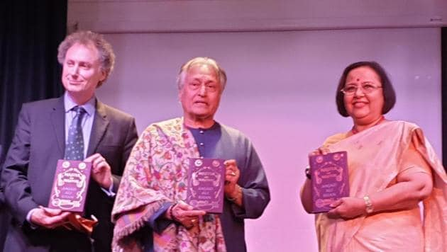 British conductor David Murphy, Amjad Ali Khan, India's high commissioner Ruchi Ghanshyam at the sarod maestro's book launch in the Nehru Centre in London on Saturday.