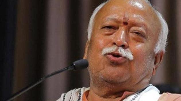 Mohan Bhagwat, chief of the Rashtriya Swayamsevak Sangh (RSS), speaks during an event in Ahmedabad.(REUTERS)