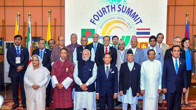 Prime Minister Narendra Modi and other BIMSTEC leaders in a group photograph with the HODs of Ministerial delegations and senior officials, during the 4th BIMSTEC Summit, in Kathmandu, Nepal on August 31, 2018(PTI)