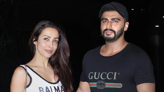 Arjun Kapoor and Malaika Arora posed as a couple at India's Most Wanted screening in Mumbai earlier this month.(PTI)