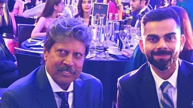 Kapil Dev and Virat Kohli in a function ahead of ICC World Cup 2019(BCCI)
