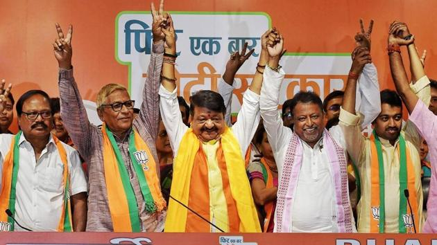 Prime Minister Narendra Modi said at an election rally in Hooghly last month that 40 MLAs from the TMC would join the BJP after the elections. (RAJ K Raj/ HT Photo)