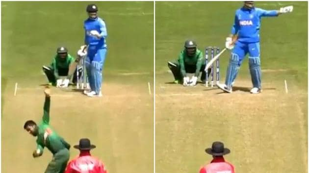 MS Dhoni setting the field for Bangladesh during the warm-up match of ICC World Cup 2019(Screen Grab)