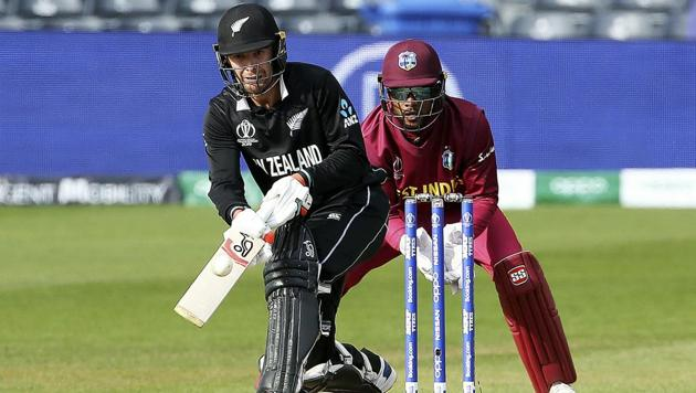 New Zealand's Tom Blundell hits out during the ICC Cricket World Cup Warm up match between New Zealand and the West Indies at the Bristol County Ground, Bristol, England, Tuesday, May 28, 2019(AP)