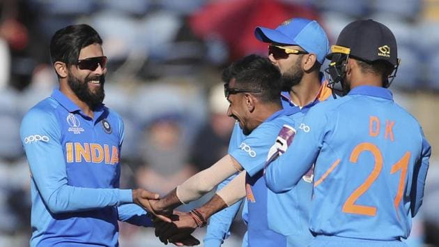 India's Ravindra Jadeja, left, celebrates with teammates the dismissal of Bangladesh's Sabbir Rahman during the Cricket World Cup warm up match between Bangladesh and India at Sophia Gardens in Cardiff, Wales, Tuesday, May 28, 2019.(AP)