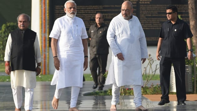 Prime Minister Narendra Modi and National BJP President Amit Shah arrive for the pays tribute at Sadaiv Atal the memorial to Bharat Ratan former Prime Minister Atal Bihari Vajpayee before being sworn in for his second term as prime minister of India today evening in New Delhi, India, Thursday, May 30, 2019.((Photo by Sonu Mehta/ Hindustan Times))