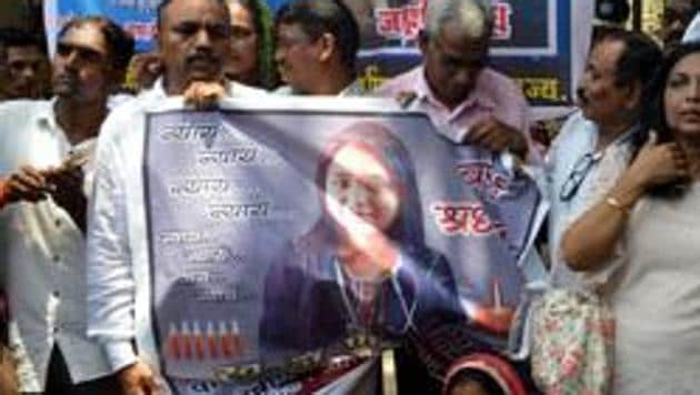 Mumbai, India 28 May, 2019: Dr Payal Tadvi's family & All India Students Federation (AISF) stage protest outside the Nair Hospital they are demanding action against the three accused doctors who allegedly hurled cattiest slurs and harassed Dr Tadvi, who died by suicide in 22 May, in Mumbai, India, on Tuesday, 28 May, 2019. (Photo by Bhushan Koyande/HT)