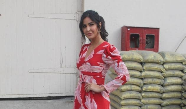 Katrina Kaif seen outside a film studio during the promotions of Bharat in Mumbai.(IANS)