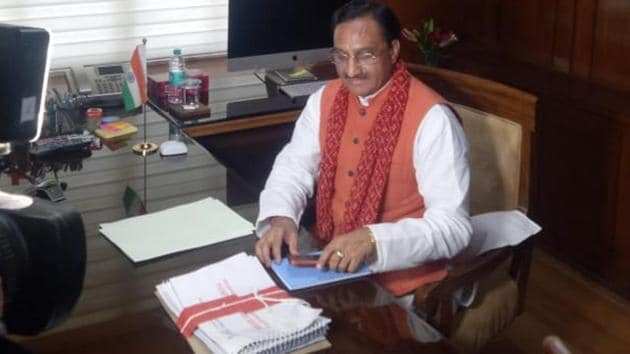 Former Uttarakhand CM and Haridwar MP Ramesh Pokhriyal Nishank took charge as the HRD minister on Friday, May 31, 2019, soon after the announcement of portfolios.(HT Photo)