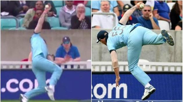Ben Stokes takes an outstanding catch to dismiss Andile Phehlukwayo during the England vs South Africa World Cup 2019 match.(Screen Grabs)