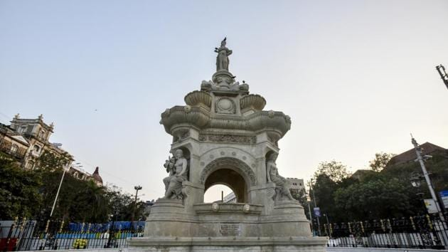 The Brihanmumbai Municipal Corporation (BMC) is now unsure about the location and plans to place it at the iconic Flora Fountain area(Kunal Patil/HT Photo)