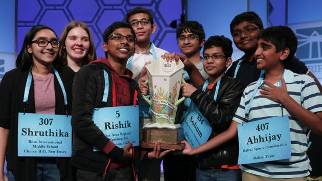 This was a first for the Scripps National Spelling Bee, as the competition is officially called, which has had two-way joint winners a few times over the 94 years of its history. But eight, never.(AFP photo)