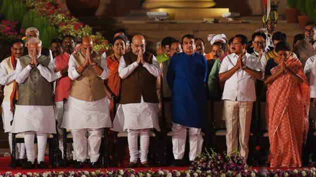Prime Minister Narendra Modi and members of his cabinet took oath , at Rashtrapati Bhavan, in New Delhi, India, on Thursday, May 30, 2019. (Photo by Ajay Aggarwal)(HT File Photo)