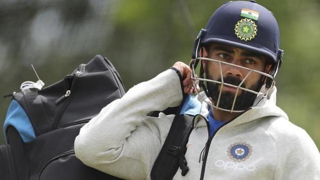 India's captain Virat Kohli leaves after batting in the nets during a training session.(AP)