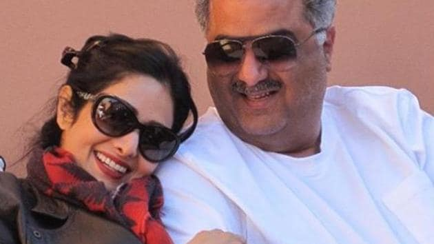 Late Bollywood actor Sridevi with husband Boney Kapoor in a throwback picture that their daughter Janhvi Kapoor has shared.(Instagram)