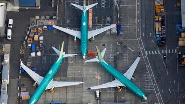 An aerial photo shows Boeing 737 MAX airplanes parked on the tarmac at the Boeing Factory in Renton, Washington, US March 21, 2019(REUTERSFILE)