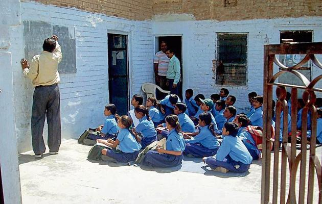 A government school in Jaipur, Rajasthan. The Congress in the past had accused the Bharatiya Janata Party (BJP) of distorting history and saffronisation of school education.(HT File)