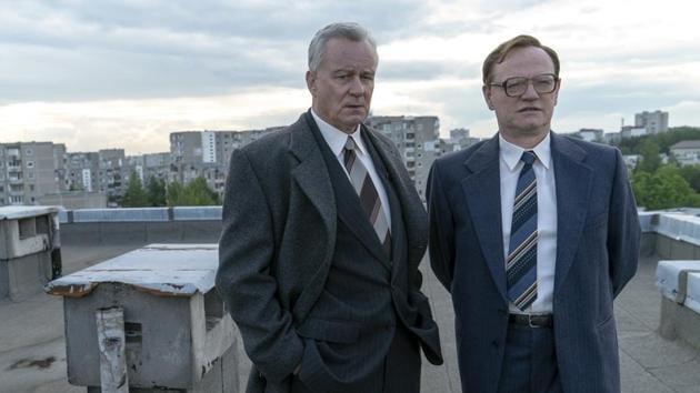 Stellan Skarsgard and Jared Harris in a still from HBO's Chernobyl.
