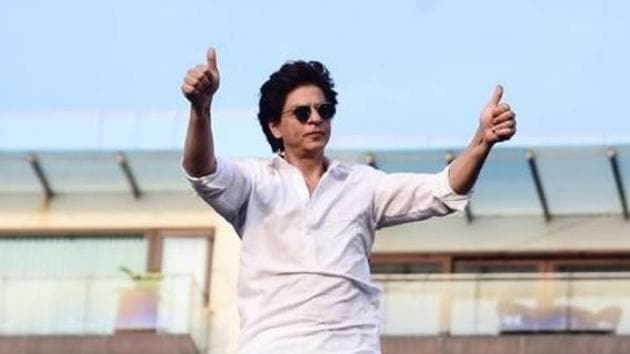 Shah Rukh Khan at his Mumbai home, Mannat.